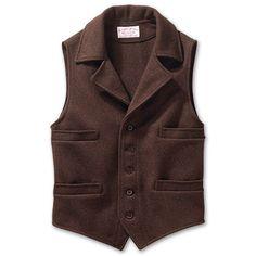 www.Filson.com | Filson Mackinaw Wool Western Vest - Classic western cut vest with rugged Mackinaw Wool warmth