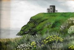 Cliffs of Moher Castle Irish landscape oil by PetrocyStudios, $24.00