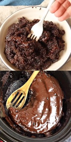 CROCKPOT CHOCOLATE LAVA CAKE The ultimate decadent chocolate cake - and it's foolproof! Our slow cooker chocolate lava cake is rich, gooey, and literally overflowing with fudge-y goodness! Slow Cooker Desserts, Crockpot Dessert Recipes, Crock Pot Desserts, Crockpot Dishes, Köstliche Desserts, Crock Pot Cooking, Cooking Recipes, Crockpot Lava Cake Recipe, Crockpot Meals