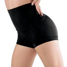 Chic high-waisted dance shorts feature a wide waistband that can be worn up or folded down for a different look