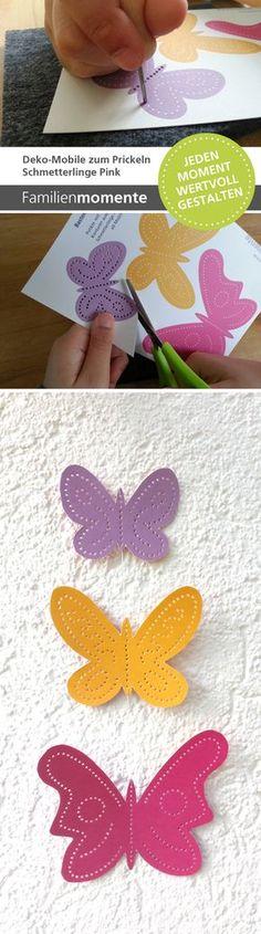 Deko-Mobile zum Prickeln - Schmetterlinge Pink/Orange/Lila