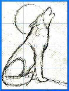 Realistic Animal Drawings, Art Drawings Sketches Simple, Animal Sketches, Love Drawings, Easy Drawings, Drawing Animals, Wolf Drawing Easy, Coyote Drawing, Drawing Guide