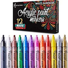 Paint pens for Rock Painting, Stone, Ceramic, Glass, Wood. Set of 12 Acrylic Paint Markers Extra-fine tip Acrylic Paint Pens, Acrylic Tips, Gel Ink Pens, Metallic Paint, Ceramic Painting, Fabric Painting, Rock Painting, Fabric Drawing, Paint Pens For Rocks