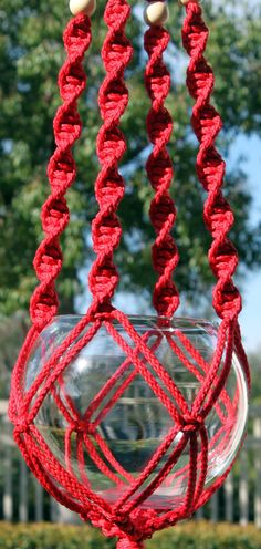 HELIX II #Handmade #Macrame Plant Hanger in RED by #ChironCreations. #etsy #garden #patio #apartment #centaurchiron