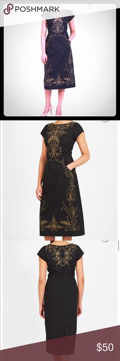 NWOT Filigree Embellished Poplin Sheath Dress Filigree-like embroidery adds an elegant touch to this beautiful midi sheath dress crafted from cotton poplin.  Back zip with hook-and-eye closure. Boat neck. Cap sleeves. Princess seamed bodice. Seamed waist. Angled front pockets. Back vent. Mid-calf length. Cotton, woven poplin, pre-shrunk, smooth finish, light crisp feel, no stretch, midweight. Machine wash cold. eshakti Dresses
