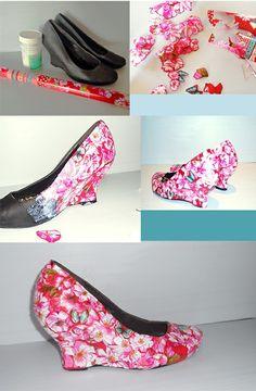Floral Shoes (DIY: découpage shoes)