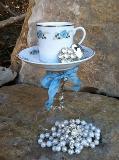 Repurposed Tea Cup - Candle Holder - Bird Feeder - Jewelry Holder - French Cottage Farmhouse CHIC