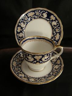 Crown Staffordshire Cobalt ELLESMERE Tea cup trio in great condition