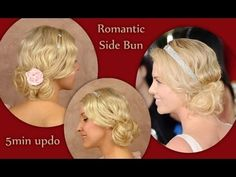 Wedding hairstyle for medium long prom hair tutorial Flapper spring look Curly short hair updo