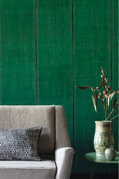 Nomades wallpaper. This collection of vinyl wallpaper in plant and textile textures will sweep you away into this nomadic world. #Wallpaper #FireResistant #Elitis