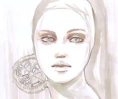 Fashion watercolor portrait in soft pink by bijuterra on Etsy, $35.00