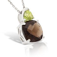 Sterling Silver - 4.88CT Shimmering Quartz & Peridot Basket Pendant   ShopEventSite.com
