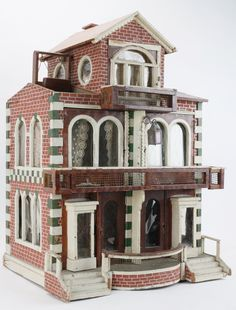 Semi-Detached Dolls' House from Washington D.C. : Lot 181 (jt-couple of unusual features - roof top swing and balconies which fold out for access to openings. Circa 1900)