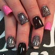 black pink and gray nails not to long but they are  not to short i love them