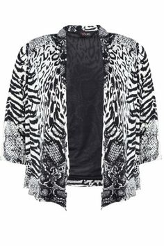 $51.00 cool Yoursclothing Womens Plus Size Animal Print Jersey 3/4 Sleeve Edge To Edge Jacke