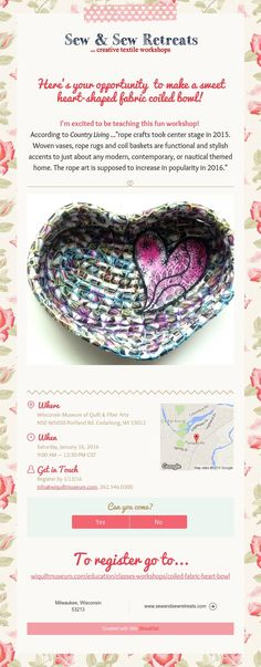 Here's your opportunity  to make a sweet heart-shaped fabric coiled bowl!