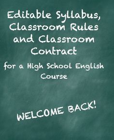 This editable set of documents for a high school English class is sure to set a positive tone for the first day of school. This set includes a detailed course syllabus, a classroom rules document, as well as a class contract with parent/guardian information. $1.00