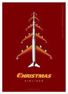 Christmas Airlines. Postcard Series by Nikolya Pere, via Behance