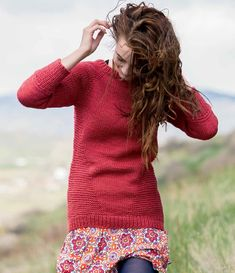 Cool texture on this slimming sweater. Hanne Sweater Pattern | InterweaveStore.com.