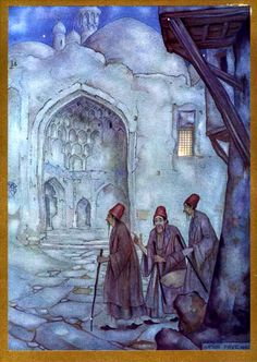 Anton Pieck - Stories from the Arabian Nights - The Caliph and his company Abbasid Caliphate, Night Illustration, Anton Pieck, The Magic Flute, Dutch Painters, Dutch Artists, Arabian Nights, Fantasy World, Dibujo
