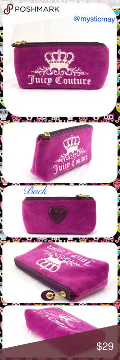 "JUICY COUTURE Purple Velour Makeup Bag Clutch Adorable purple velour Juicy Couture makeup bag with white embroidered front and leather ""J"" heart sown into the back. Cute ""Scottie"" etched zipper pull and flattened base so bag can stand on its own. Plastic-lined interior is very clean with no stains. Juicy Couture Bags Cosmetic Bags & Cases"
