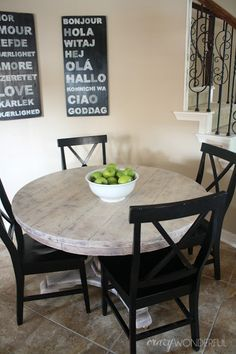 wood look with liming wax (Crazy Wonderful) Love this table top. bleached wood look with liming wax - Crazy WonderfulLime Lime primarily refers to: Lime may also refer to: . Oak Furniture, Grey Dining Tables, Black Kitchen Table, Bleached Wood, Round Kitchen Table, Kitchen Table Wood, Round Wood Table, Kitchen Table Makeover, Diy Kitchen Table