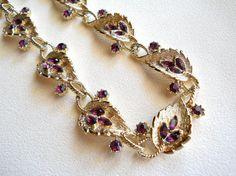 Vintage Coro Purple Amethyst Rhinestone Gold by JanesVintageJewels, $40.00