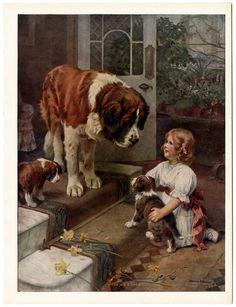 ANTIQUE ARTHUR JOHN ELSLEY 1910S VICTORIAN ART PRINT HERE HE COMES SAINT BERNARD #Victorian