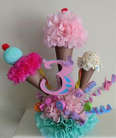 Ice Cream Party Ice Cream Centerpiece Birthday Centerpiece Girls Party Decoration Ice Cream Cone Party Rylans First Birthday Candy Theme Birthday Party, Candy Party, Birthday Parties, Birthday Ideas, Ice Cream Theme, Ice Cream Party, Anniversaire Candy Land, Girls Party Decorations, Birthday Centerpieces