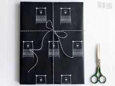 Christmas wrapping paper | Black gift paper | Hand printed kraft paper | Stamped paper |  Winter bear stamp | 27.5x39.5'' | 70x100cm