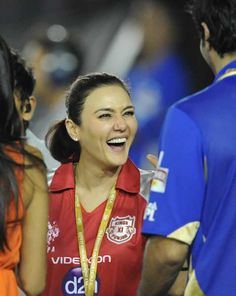 Kings XI Punjab co-owner and Bollywood actress Preity Zinta gestures during the IPL Twenty20 cricket match between Kings XI Punjab and Rajasthan Royals at the Punjab Cricket Association (PCA) stadium in Mohali.