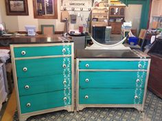 General finishes milk paint, Linen, patina green, & dark chocolate on top. Van dyke brown glaze & sealed with high performance topcoat.