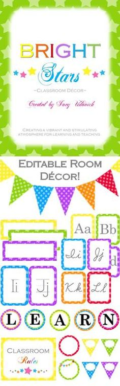 "Adorable classroom decor pack!  This 102 page pack is filled with editable pennants, student nameplates, word wall headers, alphabet lines, individual letters that say ""LEARN,"" ""CAFE,"" AND ""DAILY 5!""  There are also three different types of editable labels and a complete ""Classroom Rules"" packet with editable pages! $"