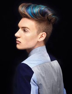 Colores para el cabello de hombres Primavera Verano 2016: Mechas azules