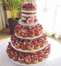 Summer berry inspired naked wedding cake and mini cake tower – Wedding Cakes With Cupcakes Mini Cakes, Cupcake Cakes, Cupcake Tier, Buffet Dessert, Nake Cake, Fresh Fruit Cake, Fruit Tart, Cake Tower, Wedding Cakes With Cupcakes