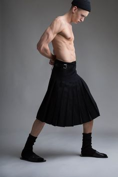 Vintage Y's Yohji Yamamoto Men's Pleated Skirt. Designer Clothing Dark Minimal Street Style Fashion