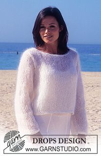 Free lightweight boat neck sweater DROPS Sweater in Vienna and Cotton Viscose. Easy Sweater Knitting Patterns, Jumper Patterns, Summer Knitting, Free Knitting, Mohair Cardigan, Laine Drops, Garnstudio Drops, Drops Design, Knit Fashion