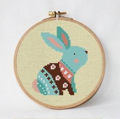Easter cross stitch pattern  Rabbit cross by AnimalsCrossStitch