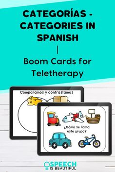 Categories in Spanish - Boom Cards for Teletherapy - Use this engaging activity to review categories, discuss what doesn't belong, naming items from categories, and comparing and contrasting with your students. Great for working with bilingual students. - Speech is Beautiful