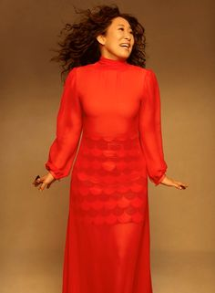 Sandra Oh, Cristina Yang, High Neck Dress, Dresses With Sleeves, Long Sleeve, Fashion, Turtleneck Dress, Moda, Sleeve Dresses
