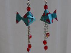 Boucles d'oreilles en Origami : le Poisson Prix : 7 euros