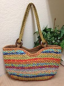 a570aeb2454f Orvis Handbag Woven Straw Island Multi Color Striped Large