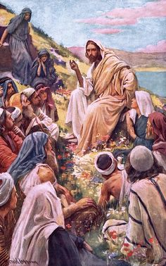 The Sermon on the Mount by Harold Copping {c.early 1900's} ~ Jesus
