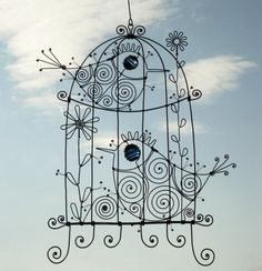 Wire BirdCage With Blue  Eyed Birds by MyWireArt on Etsy