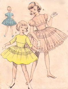 1950's WEIGEL's 2142 Girls Party dress flower girl dress formal dress  Bridal bridesmaid vintage dress sewing pattern Bust 28 1950s 50s