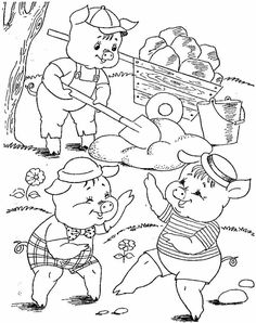 (6) ДЕТСКИ УЧИТЕЛИ Farm Coloring Pages, Coloring Pages For Boys, Free Printable Coloring Pages, Coloring Books, Three Little Pigs Story, Paper Flowers For Kids, Happy New Year Photo, Pig Crafts, Kindergarten Crafts