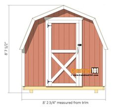 Shed Plans - Small Barn - Front View 10x12 Shed Plans, Shed Plans 12x16, Wood Shed Plans, Free Shed Plans, Wood Storage Sheds, Garden Storage Shed, Storage Shed Plans, 8x8 Shed, Cool Sheds