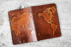 Leather World Map Passport Cover