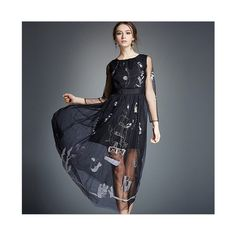Spring Gauze Dress Delicate Embroidery Long Skirt 5289 black S
