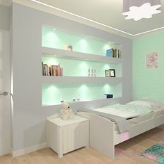 projekt-pokoju-salonu-projektowanie-wnętrz-lublin-perspektywa-studio-pokój-dziewczynki-6-lat-wnęki-w-pokoju-dziecka-garderoba-kolor-szary-i-mietowy-tapeta-Czuje-miętę-1 Interiores Design, Girls Bedroom, Loft, Furniture, Home Decor, Gray Color, Wardrobe Closet, Bedroom Decor, Living Room